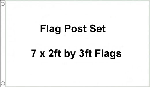 7 x 2ft by 3ft Flag Post Set - Set of 7 Flags
