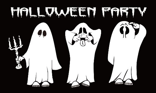 Halloween Party Flag 3 Ghosts Flag