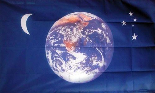 Planet Earth Moon and Stars Flag