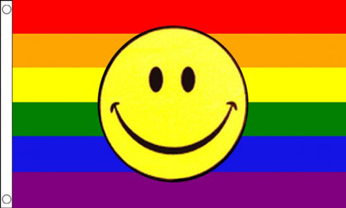 Rainbow Smiley Face Flag For Sale | Buy Emoji Flags - The