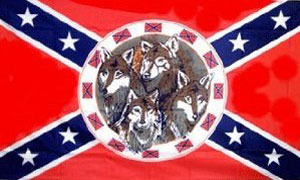 Rebel with 4 Wolves Flag