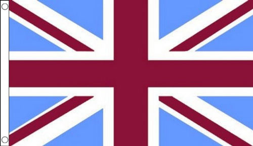 Claret and Sky Blue Union Jack Flag