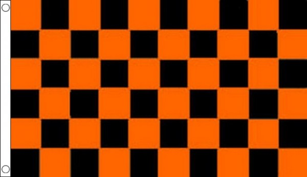 Black and Tangerine Orange Checkered Flag