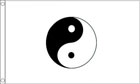2ft by 3ft Yin Yang Flag White Flag