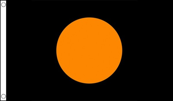 2ft by 3ft Black with Orange Circle Flag