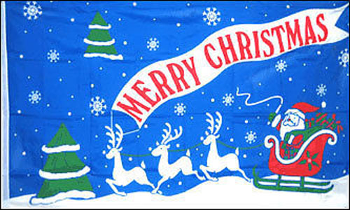 2ft by 3ft Blue Merry Christmas Flag Special Offer