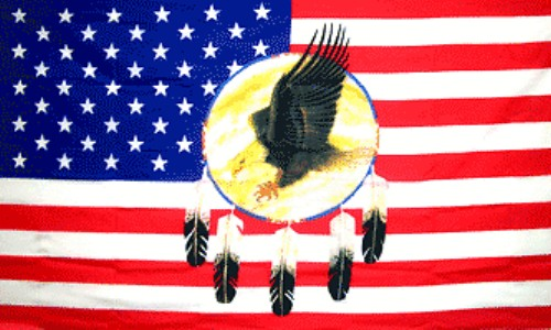 Feather and Eagle Dreamcatcher Flag