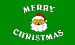 2ft by 3ft Green Merry Christmas Flag