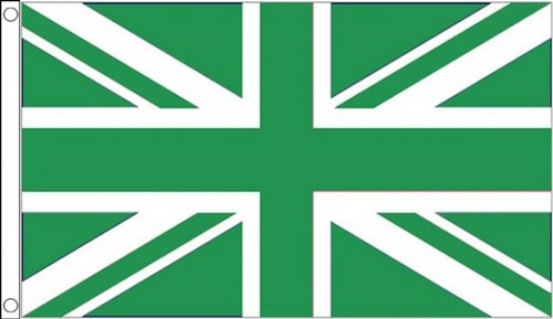 2ft by 3ft Green and White Union Jack Flag