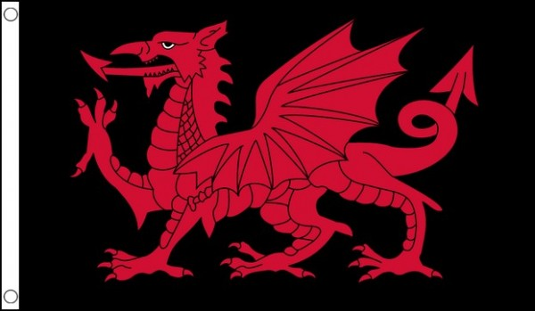 2ft by 3ft Wales Red Dragon on Black Flag