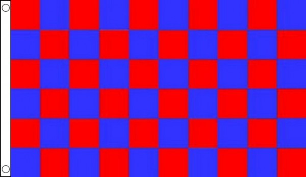 Royal Blue and Red Checkered Flag