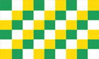 Green Yellow and White Checkered Flag