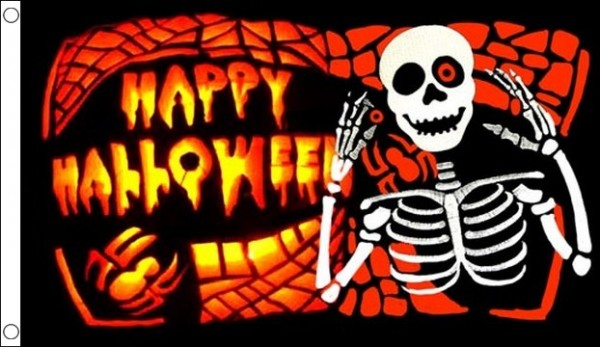 Happy Halloween Flag Skeleton and Bones SPECIAL OFFER