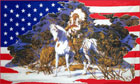 2ft by 3ft USA Indian on a Horse Snow Scene Flag