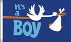Its A Boy Flag Stork with Baby