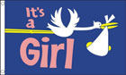 Its A Girl Flag Stork with Baby